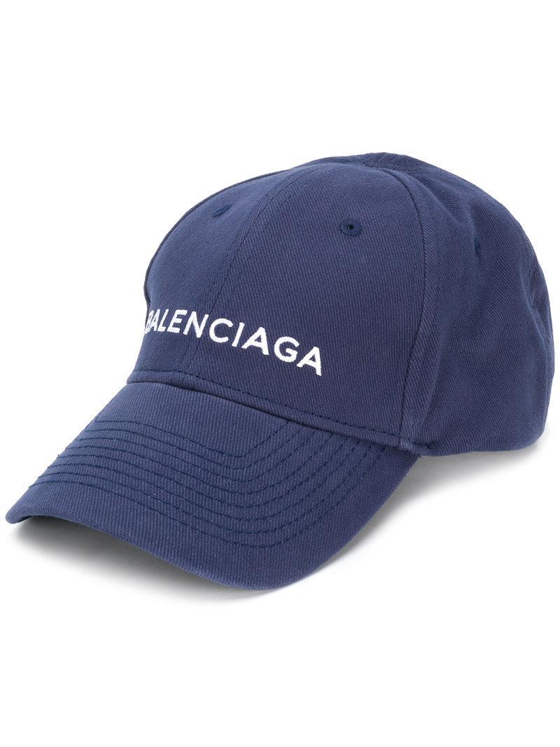 b3ac977c092 Balenciaga Navy Logo Baseball Cap in Blue for Men - Save 11% - Lyst