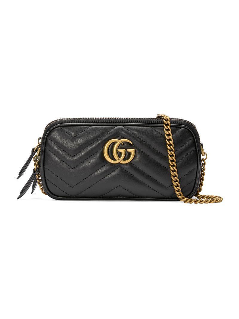 9c9aa0b9f Gucci GG Marmont Mini Chain Bag in Black - Lyst