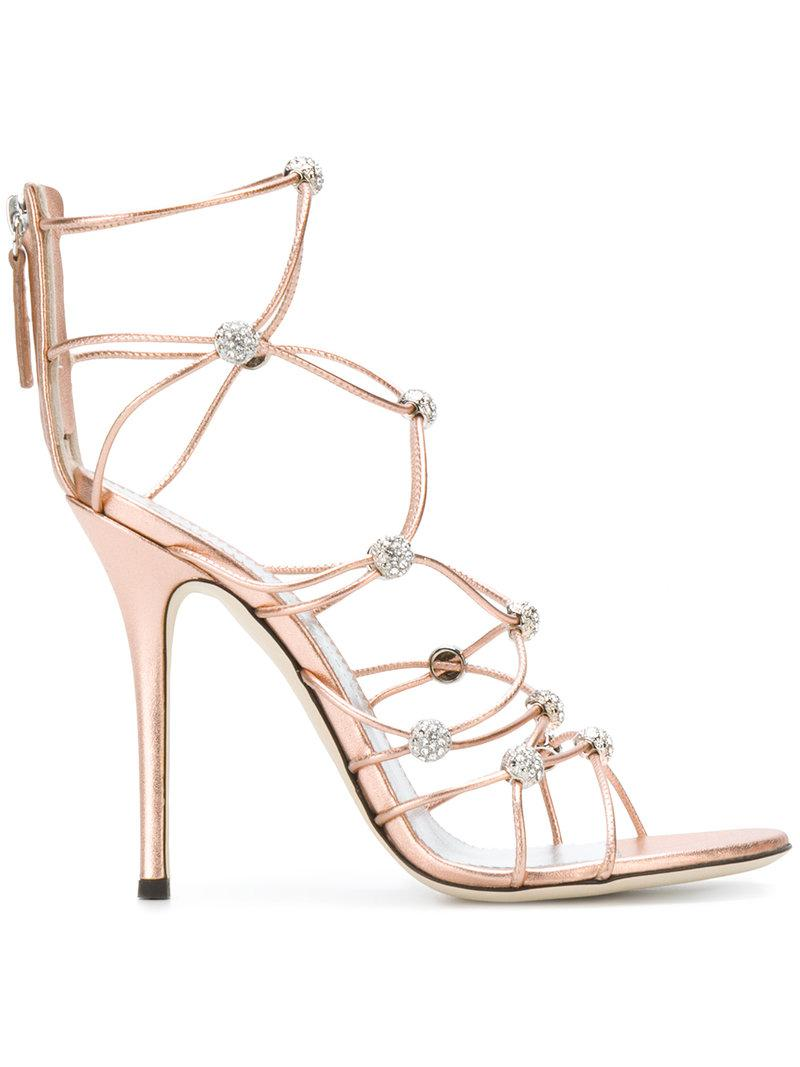 Giuseppe Zanotti Strappy crystal beaded heeled sandals GwRdrM