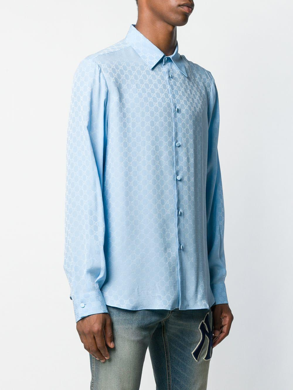8269fc4b544 Gucci - Blue GG Supreme Pattern Shirt for Men - Lyst. View fullscreen