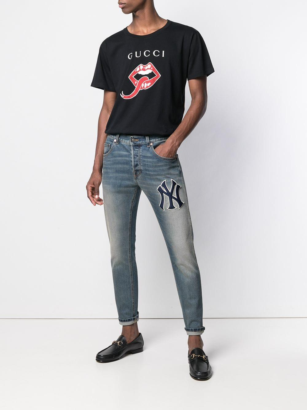 cb89ee64 Gucci - Black Mouth And Tongue Print T-shirt for Men - Lyst. View fullscreen