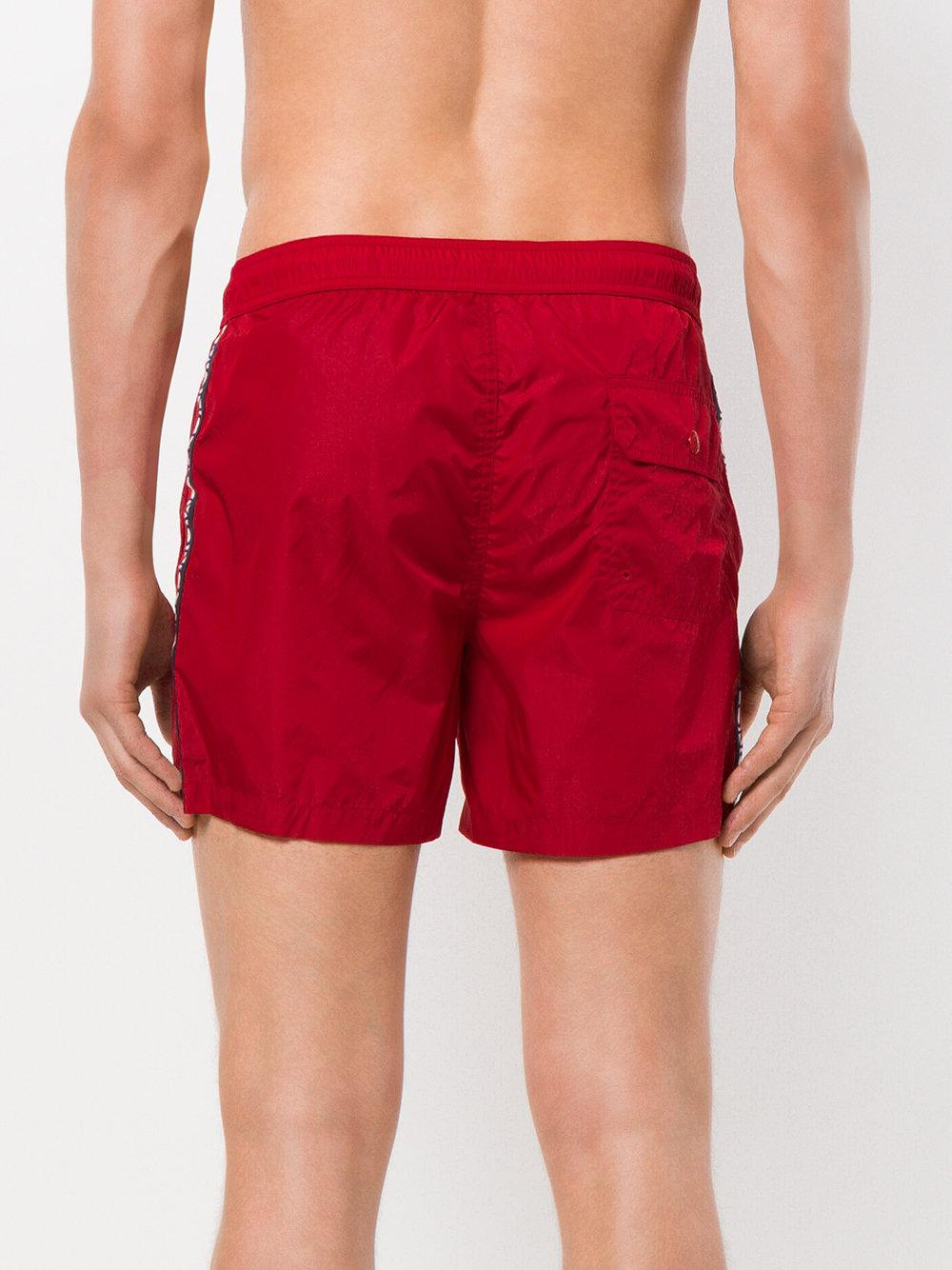 mens red moncler swim shorts