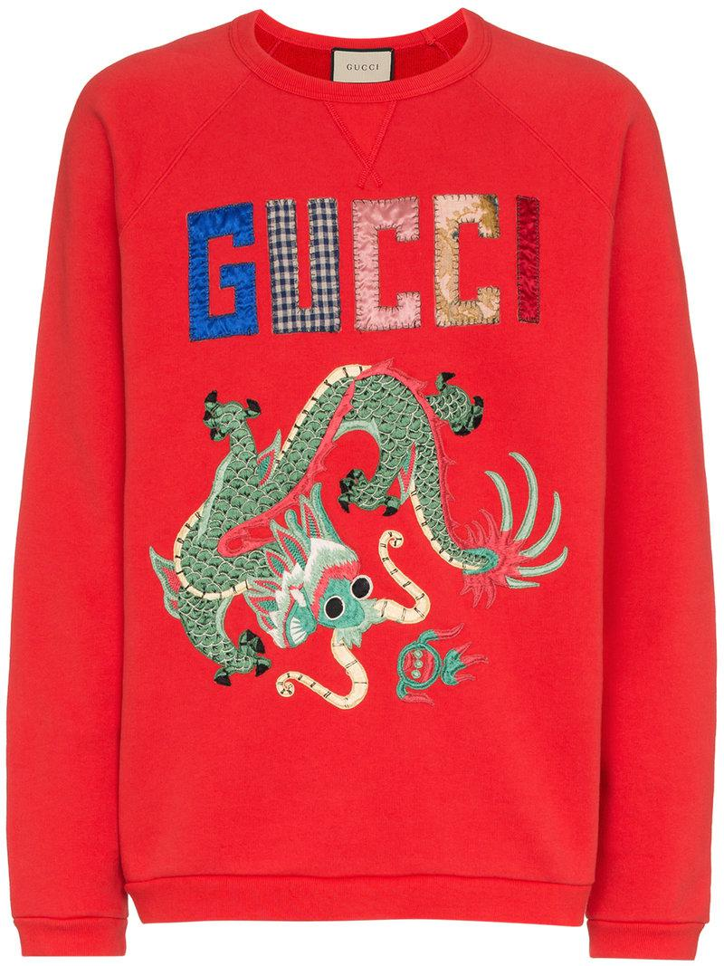 bed98b63bd5 Gucci - Red Dragon Patchwork Cotton Sweatshirt for Men - Lyst. View  fullscreen