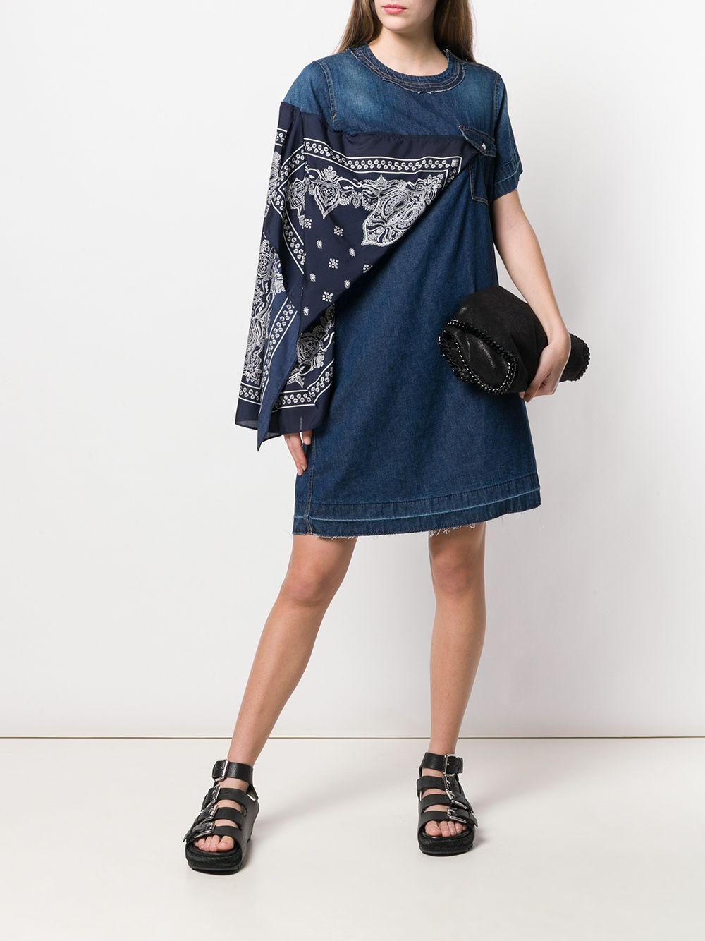 818dccec7a Sacai Scarf Detail Denim Dress in Blue - Lyst