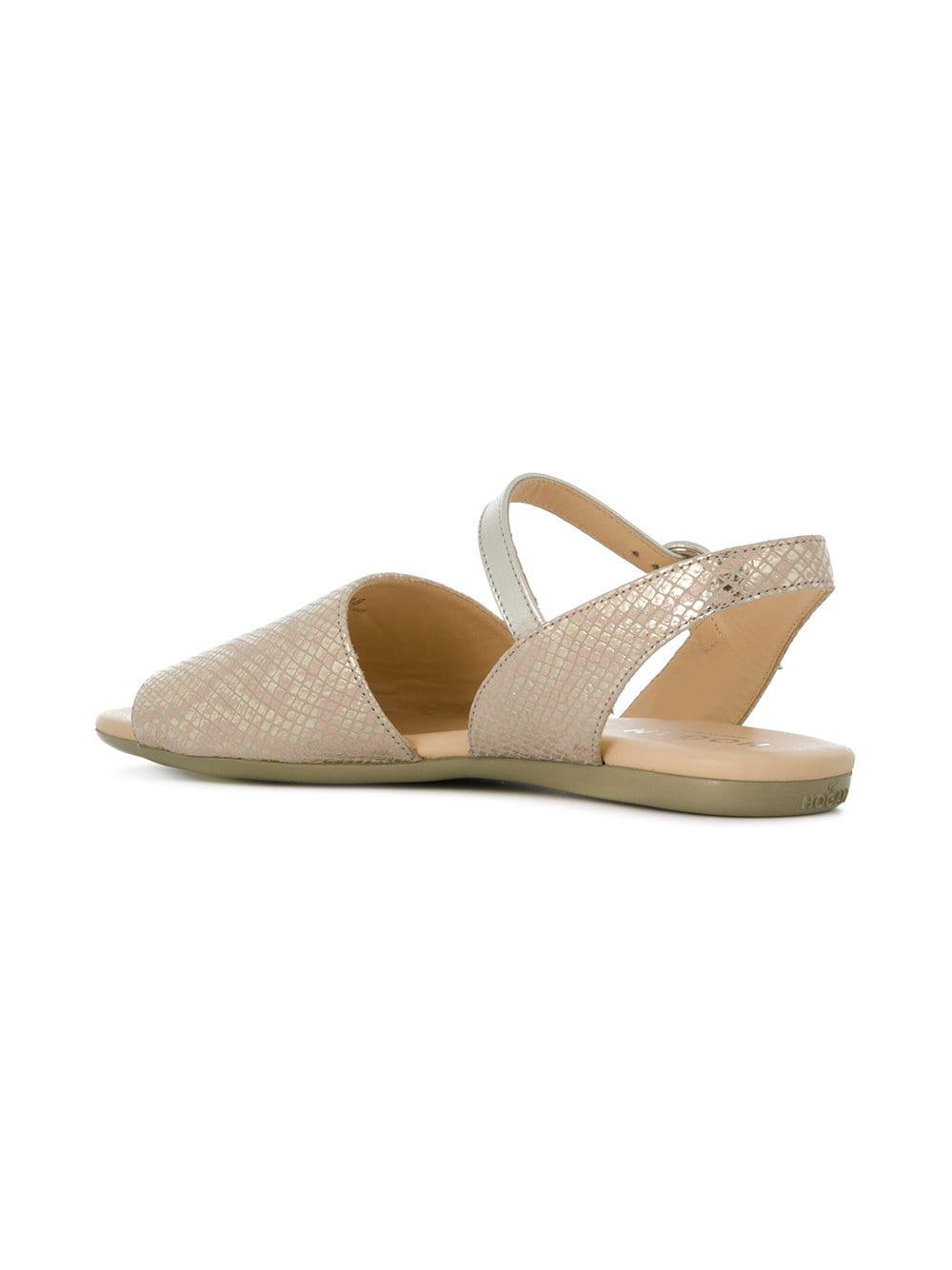 33e6241afb0 Hogan Open Toe Slingback Sandals - Lyst