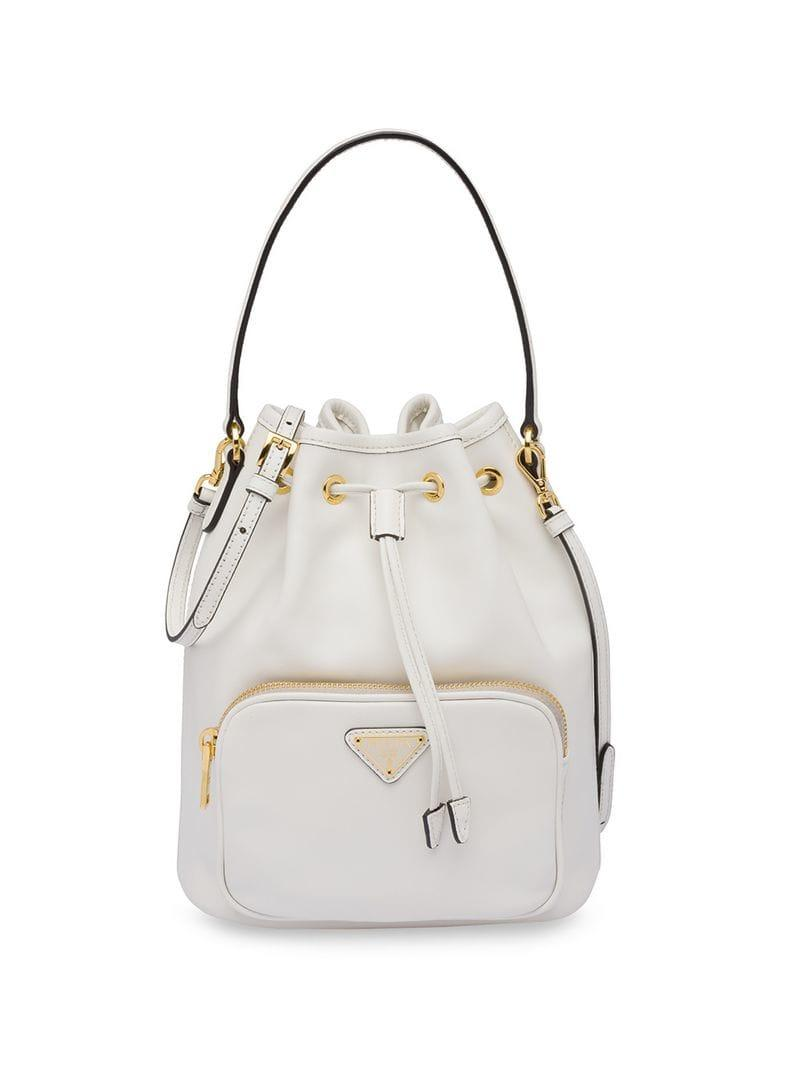 42fd8c35a19d Lyst - Prada Logo Bucket Bag in White