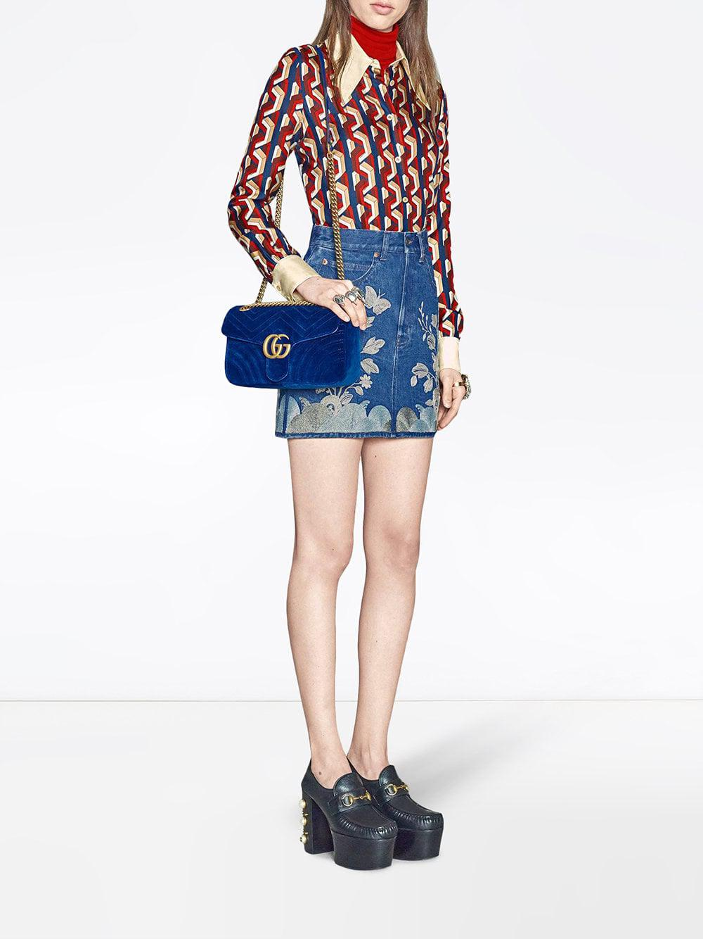 779b299046c Lyst - Gucci Women s GG Marmont Velvet Shoulder Bag - Hibiscus Red in Blue