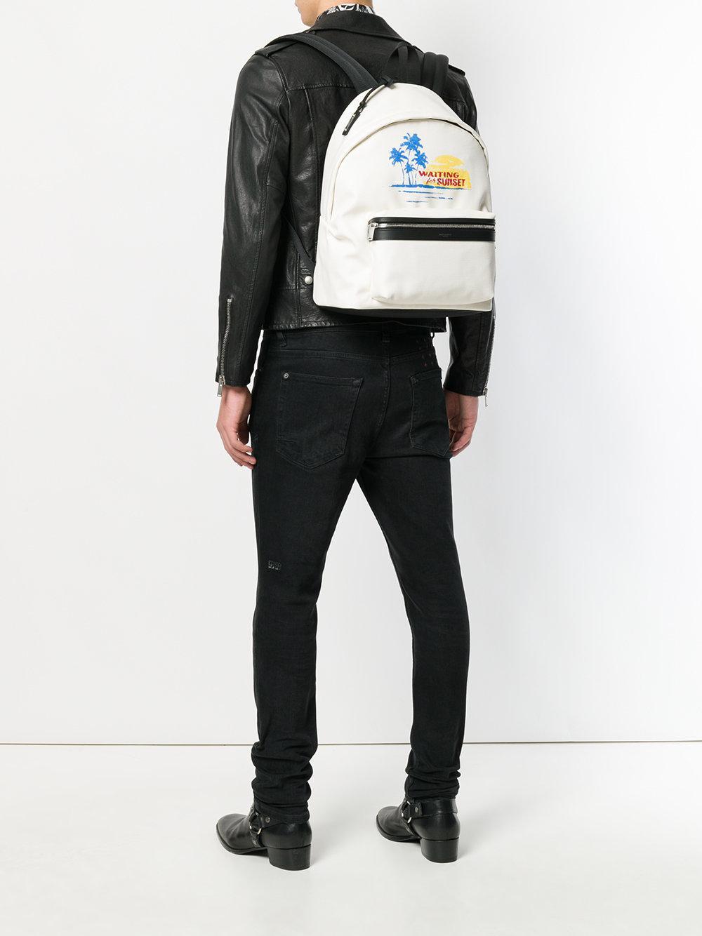 e1f9602cca Lyst - Saint Laurent Summer Printed Backpack in White for Men