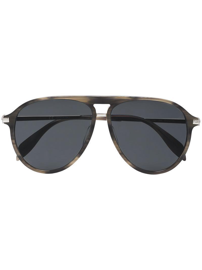 6db0e21b5e2 Alexander Mcqueen Brown Aviator Sunglasses in Metallic for Men ...