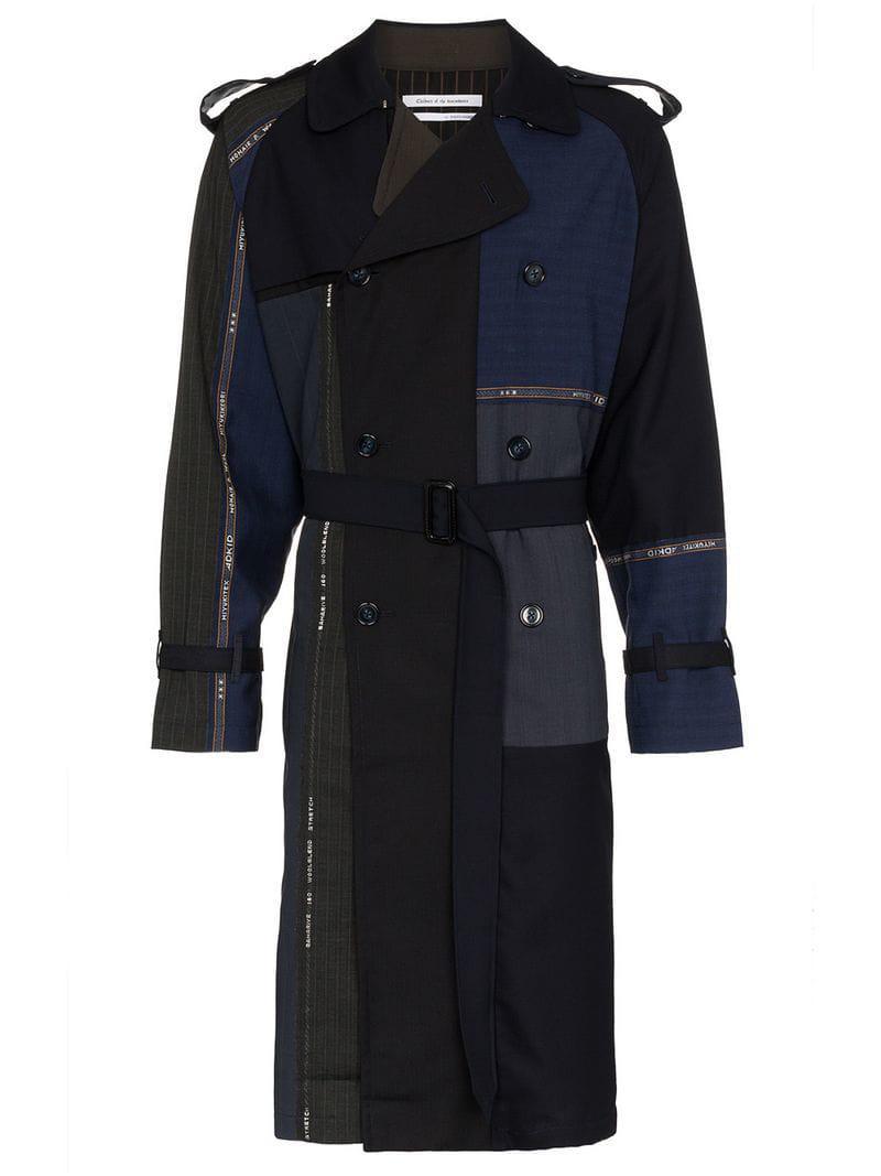 76886f6870733 Children of the discordance. Men s Blue Multi Patch Stripe Cotton Trench  Coat