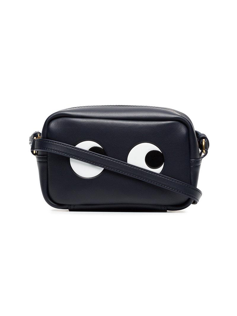 Anya Hindmarch Black and white mini eyes leather crossbody bag VyYS4GKQge