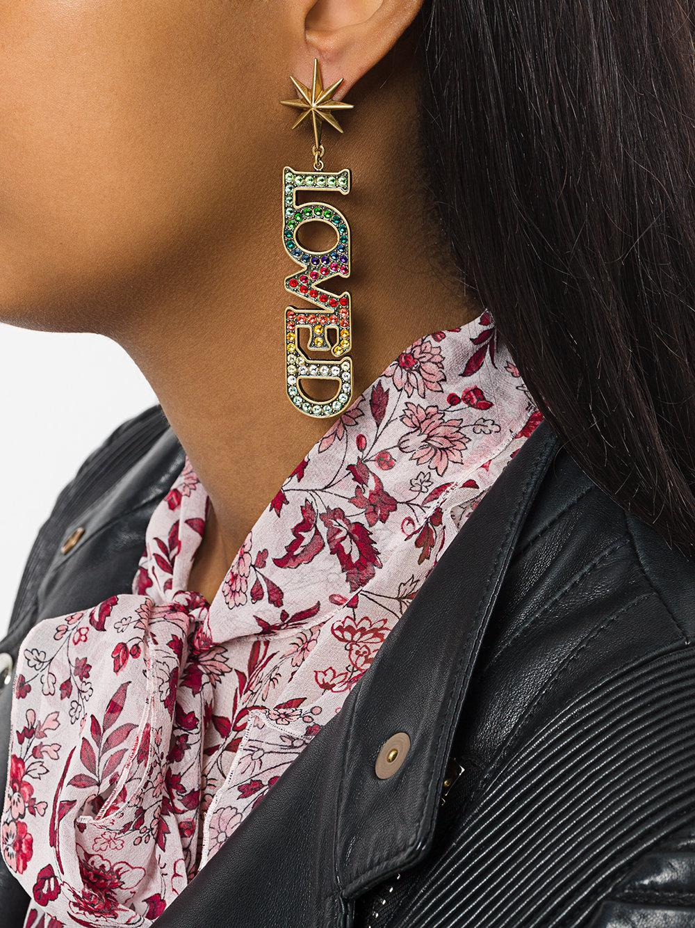 6f1fcf70783 Lyst - Gucci Loved Pendant Earrings With Crystals in Metallic