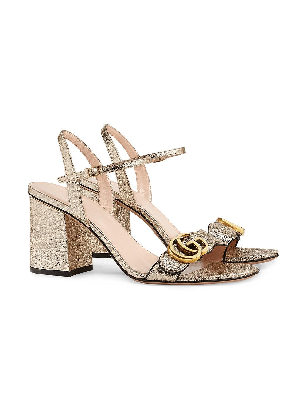 6c2b65c96b72d7 Lyst - Gucci Metallic (grey) Laminate Leather Mid-heel Sandal in Metallic -  Save 22%