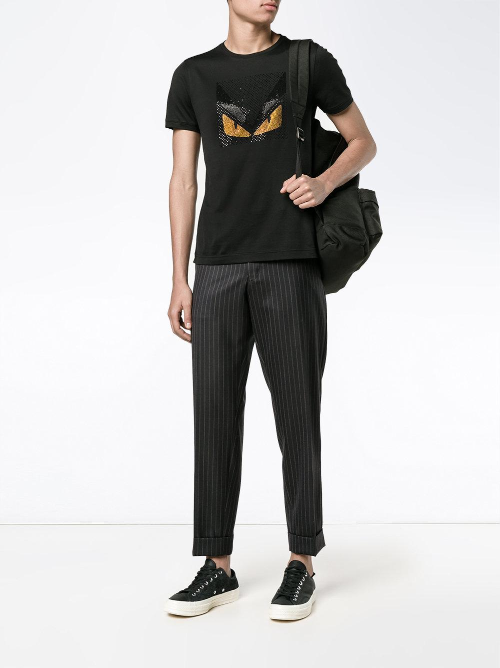 b7e292c8c016 Fendi - Black T-shirt Bag Bugs for Men - Lyst. Afficher en plein écran