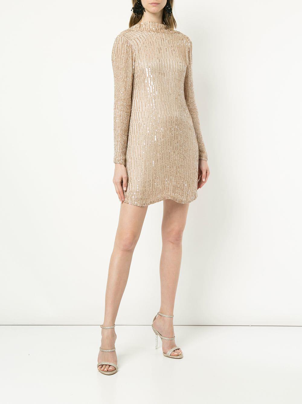 e64885ef7eb445 Lyst - Rachel Gilbert Low Back Beaded Dress in Natural