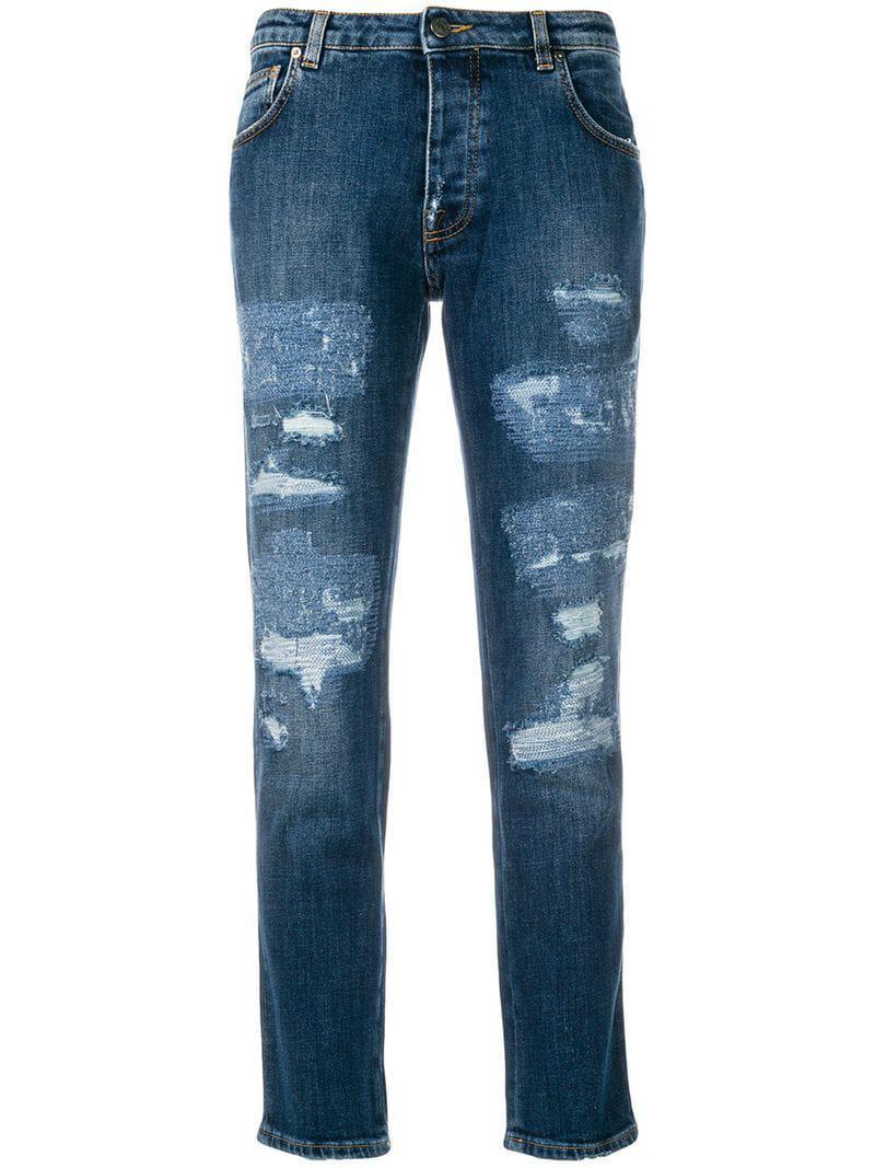 5615b656f56eaf Gaëlle Bonheur Distressed Effect Jeans in Blue - Lyst