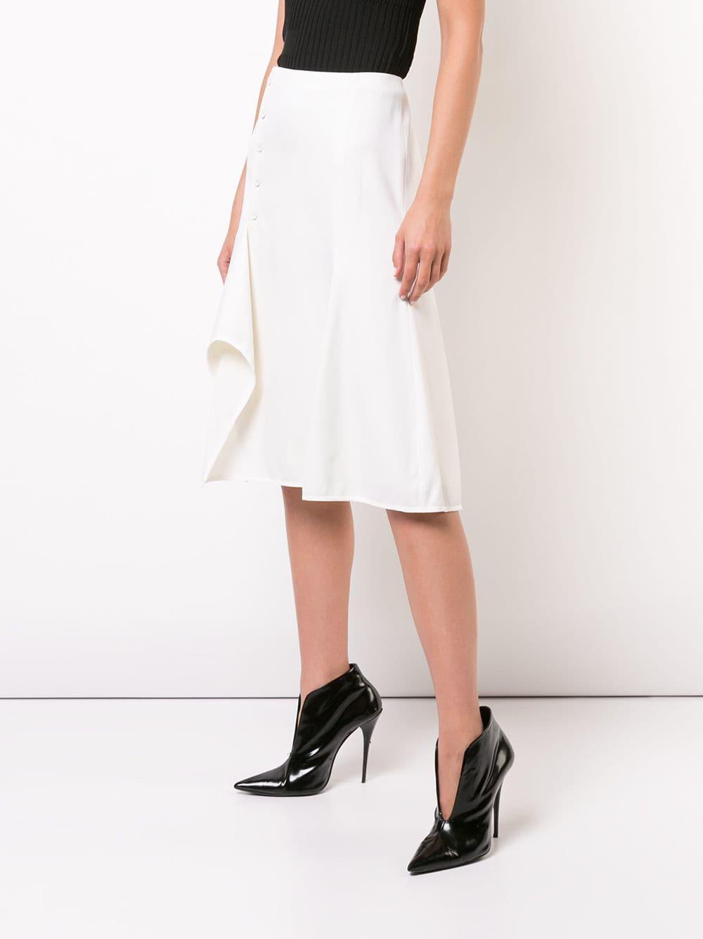 953a5703c Lyst - Narciso Rodriguez Asymmetric Stretch-wool Midi Skirt in White
