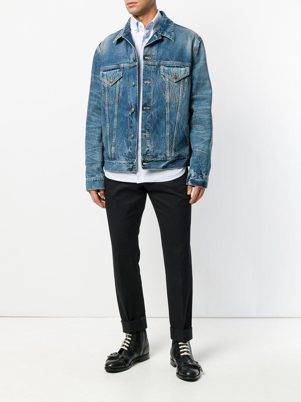 6f810489ce58 Lyst - Gucci Embroidered Denim Jacket in Blue for Men