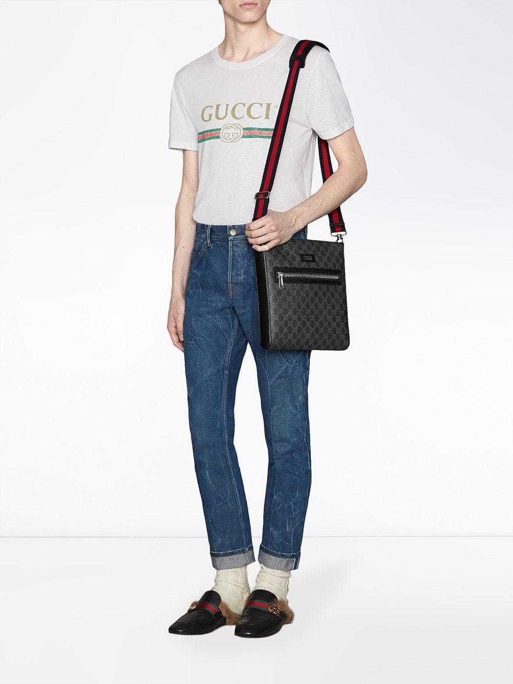 35dc7e62f892 Lyst - Gucci GG Supreme Messenger Bag in Black for Men - Save 3%