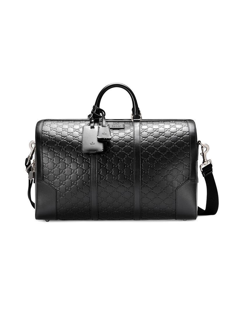 4618106d4da9 Gucci Borsa Da Viaggio In Pelle Signature in Black for Men - Lyst
