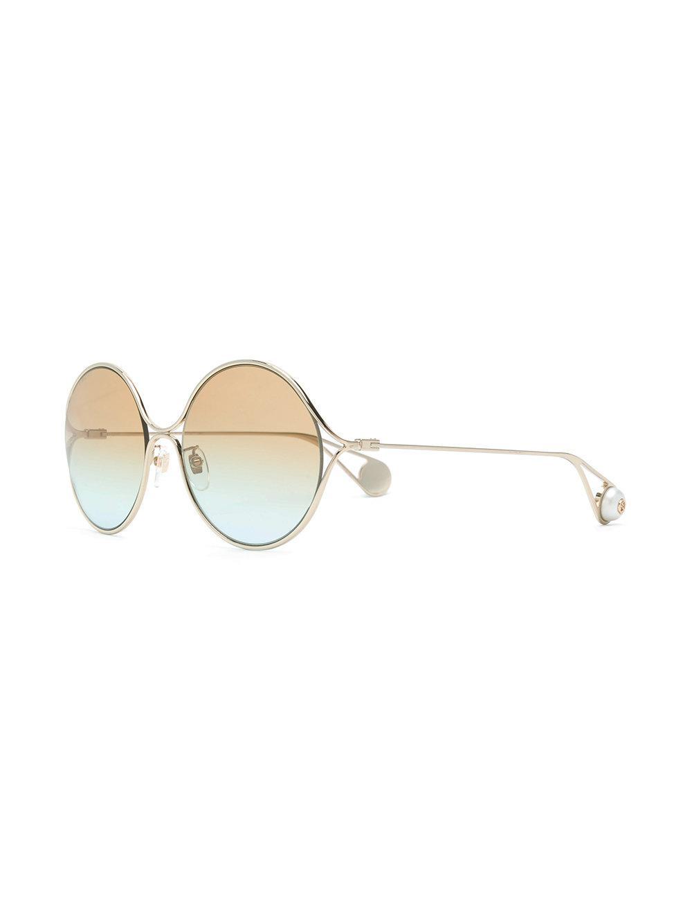 6b453c7fa12 Gucci - Metallic Round Frame Sunglasses - Lyst. View fullscreen