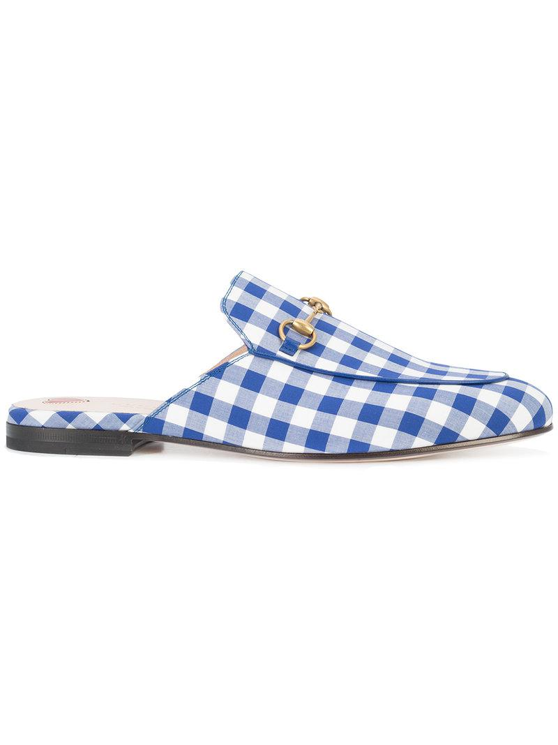 7e61992dcef Lyst - Gucci Princetown Plaid Horsebit Slippers in Blue