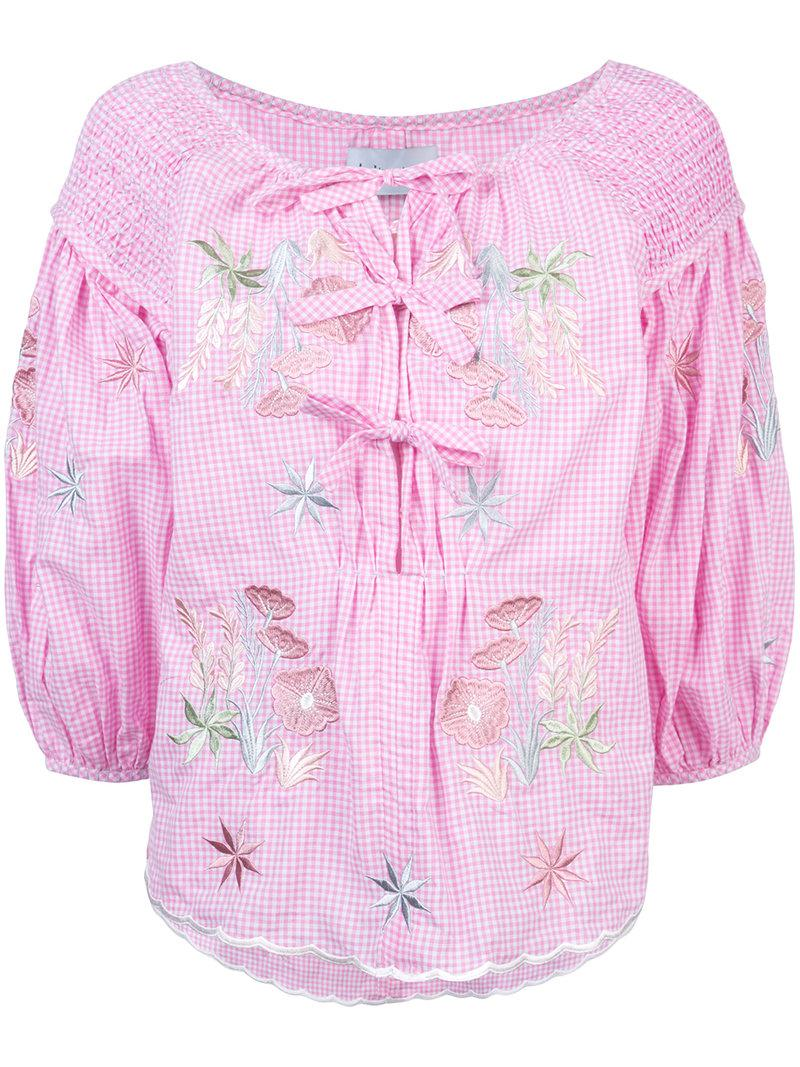 Clearance Newest Outlet Looking For gingham embroidered floral blouse - Pink & Purple Innika Choo From China Cheap Online QJQEtbk