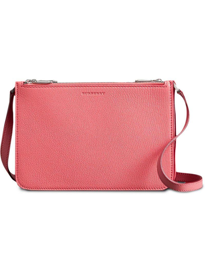 926ab9f2f405 Burberry Triple Zip Grainy Leather Crossbody Bag in Pink - Lyst