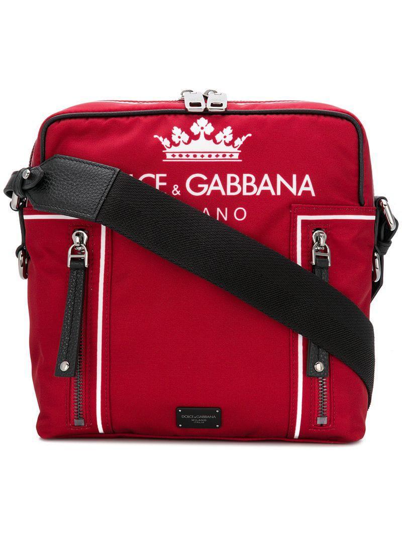 Lyst - Dolce   Gabbana Logo Shoulder Bag in Red for Men - Save ... 107374961c