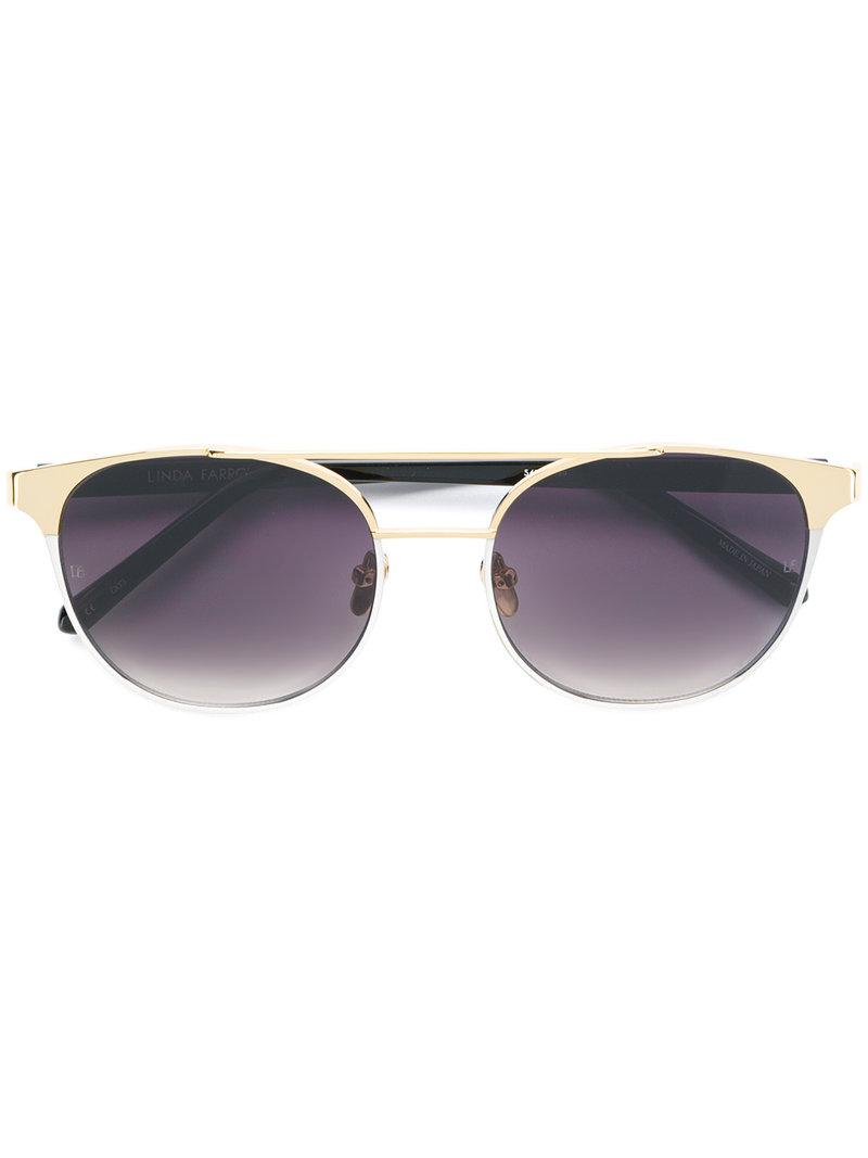 b29b1e1ca72 Linda Farrow Browline Sunglasses in Black - Lyst