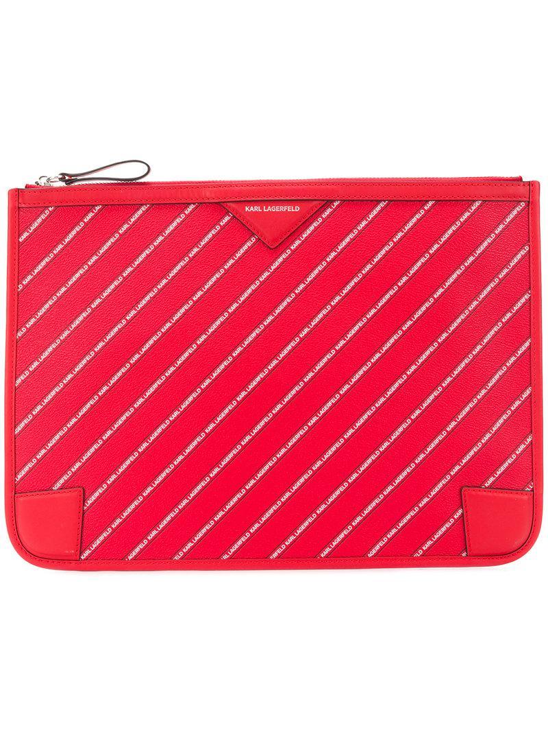 striped logo pouch - Red Karl Lagerfeld OPSunUwN