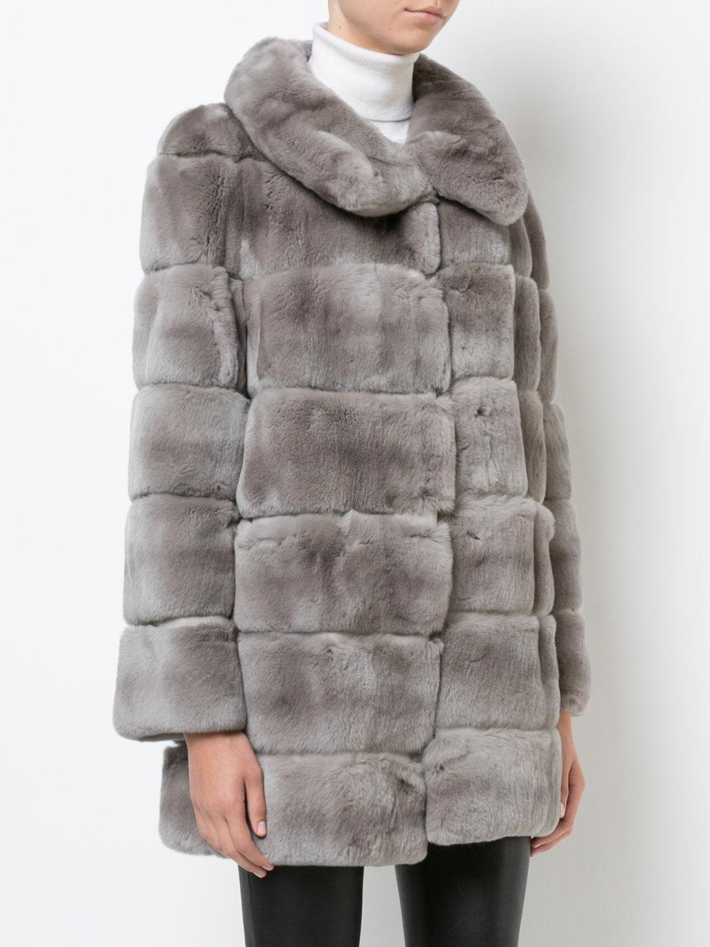 50e3db4f3343 Lyst - Yves Salomon Straight Fit Panelled Fur Coat in Gray