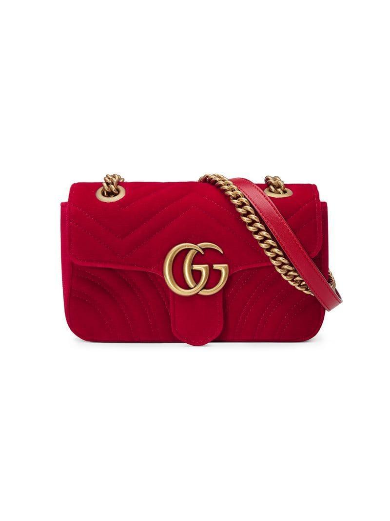 afafa9fb48b4 Gucci Mini Gg Marmont 2.0 Velvet Shoulder Bag in Red - Save 25% - Lyst