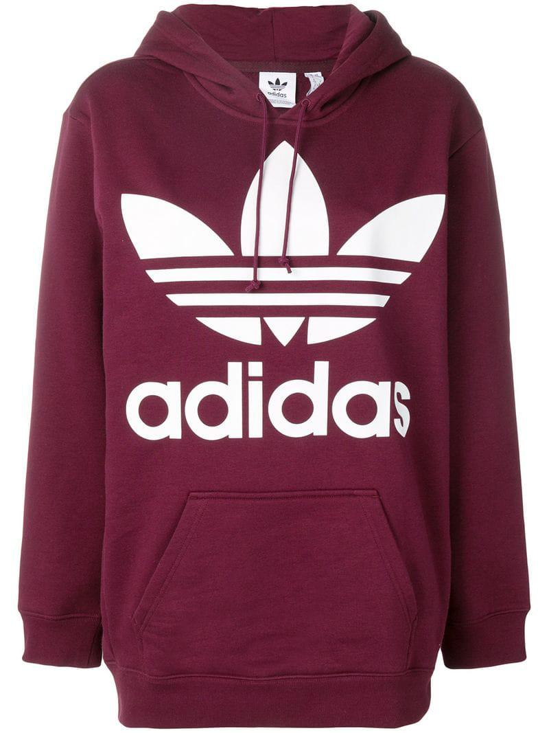 5098e36d1d135 adidas Trefoil Hoodie in Red - Lyst