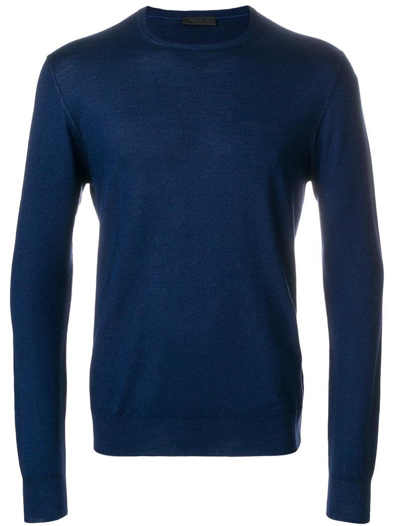 long sleeve pullover - Blue Prada Discount New Styles 0szOpJwx
