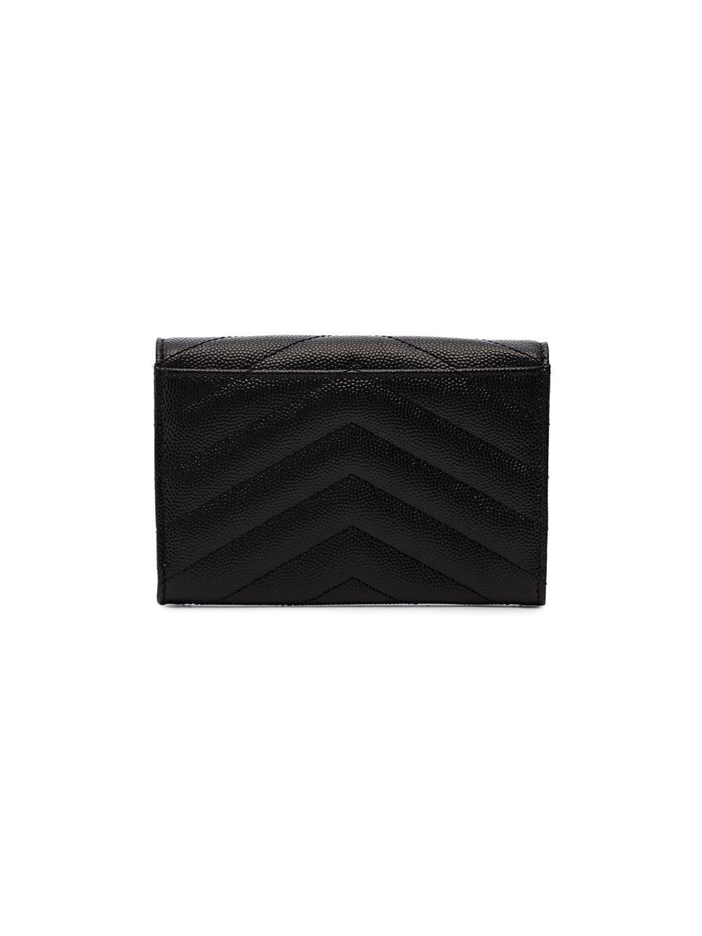 Saint Laurent - Black Monogram Quilted Grained Leather Wallet - Lyst. View  fullscreen c9bebf2b3d140