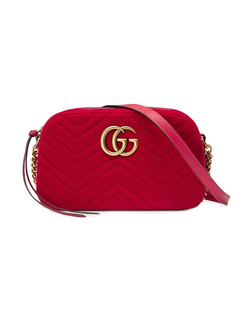 e84292ffb95f Gucci Gg Marmont Velvet Small Shoulder Bag in Red - Save 13% - Lyst