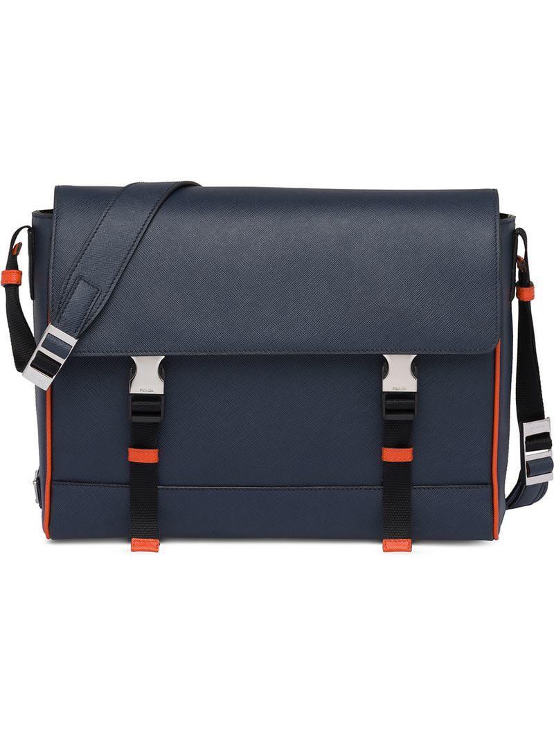 eab35ef93915 Lyst - Prada Saffiano Leather Shoulder Bag in Blue for Men