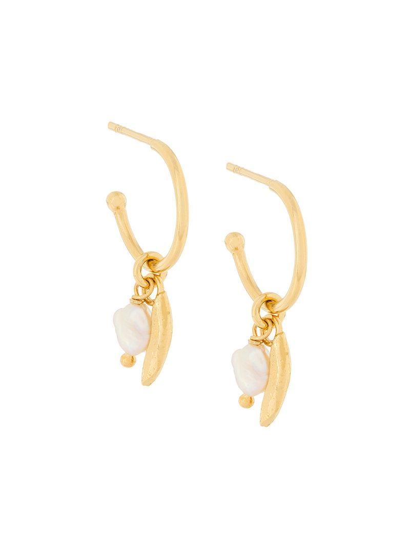 Wouters & Hendrix My Favourite freshwater pearl and leaf hoop earrings - Metallic OtFZb