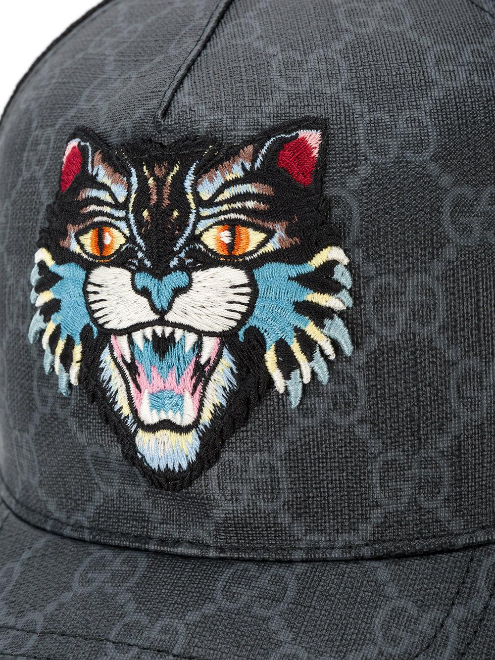 162e9653ca85a0 Gucci Gg Supreme Angry Cat Baseball Cap in Black for Men - Lyst