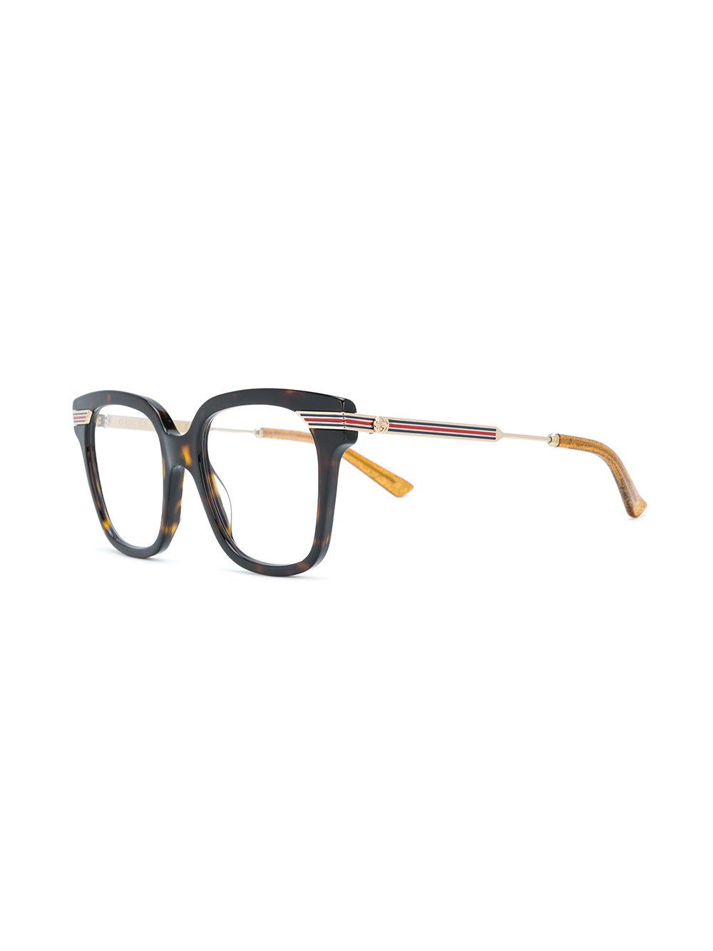 dbf9ba8a8a505 Gucci Tortoiseshell Square Frame Glasses in Brown - Lyst