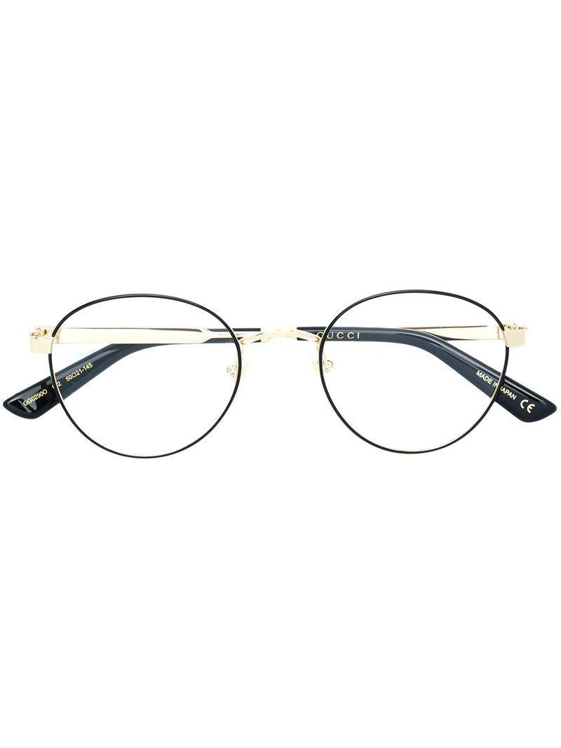 a143176598a Lyst - Gucci Round Web Glasses in Black
