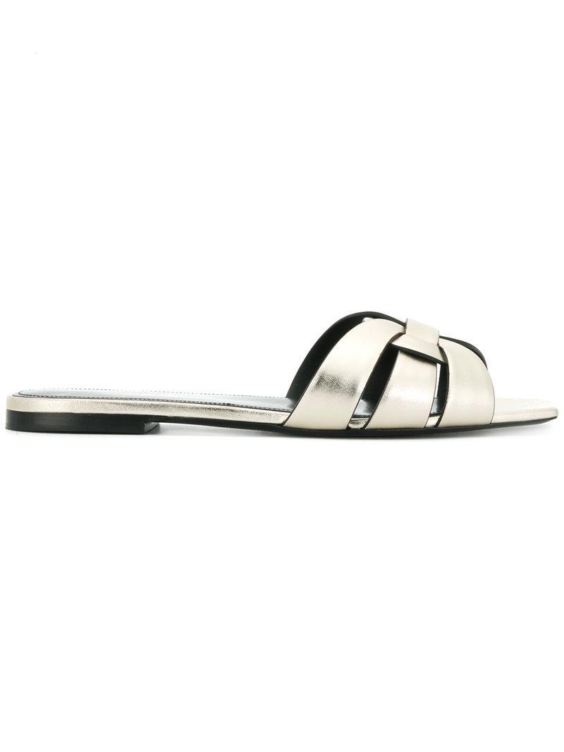 Saint Laurent flat sole woven sandals buy cheap shop for Oa1FA3w7