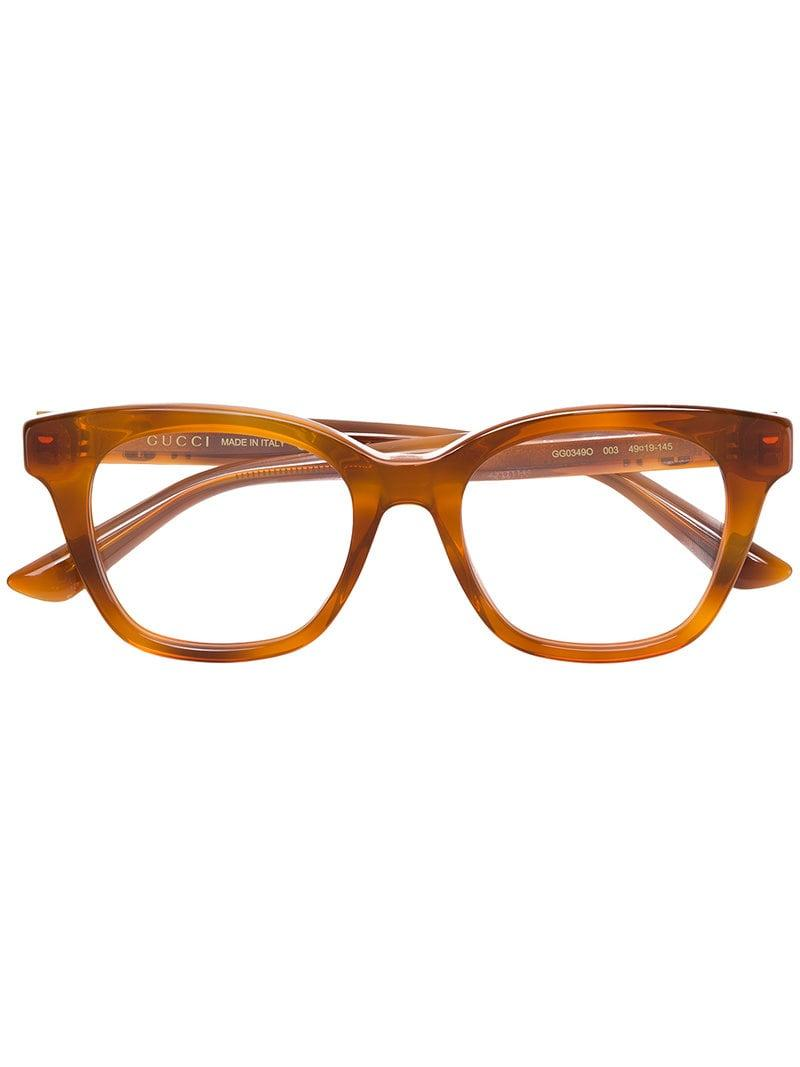3c7e3acf705 Gucci Square Frame Glasses in Yellow - Lyst