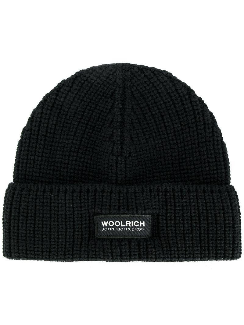 Lyst - Woolrich Classic Knitted Beanie Hat in Black for Men 31cd30db0a6d