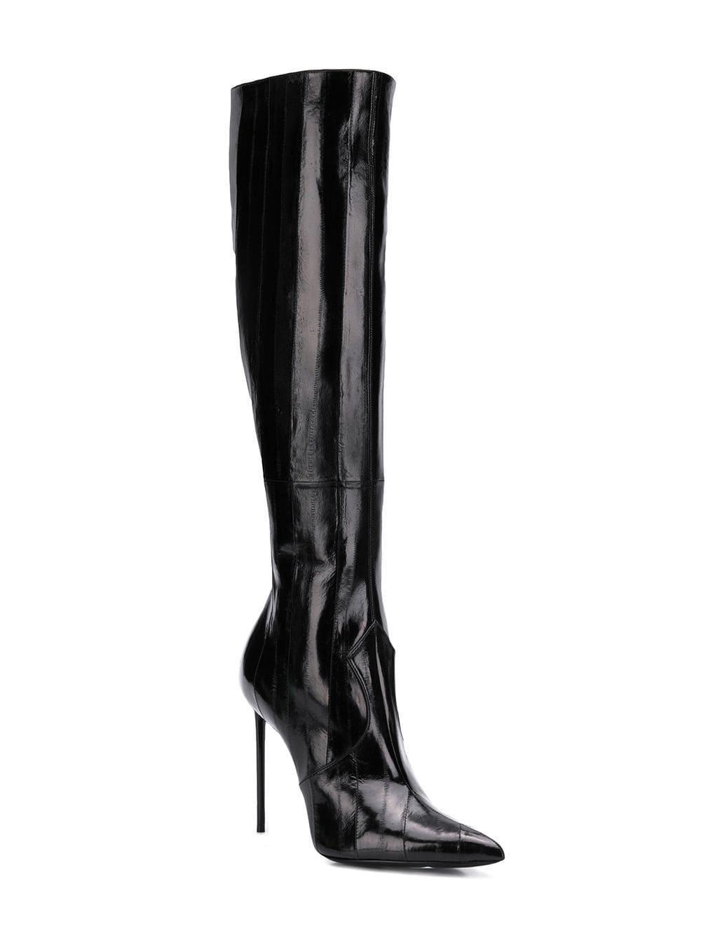 9e657fbce6e Saint Laurent Heeled Knee High Boots in Black - Lyst