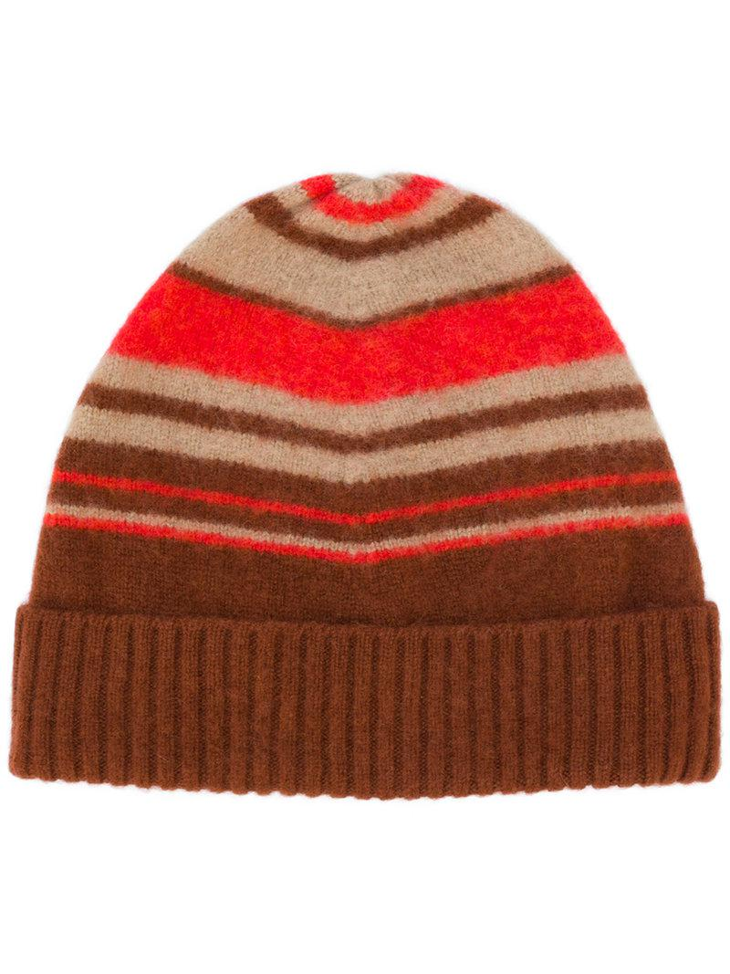0a0eac2bdbc Lyst - Drumohr Striped Ribbed Beanie in Brown