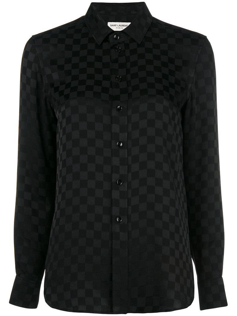 e5d3c4cae5f610 Saint Laurent - Black Checkered Print Shirt - Lyst. View fullscreen