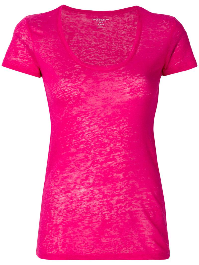 scoop neck T-shirt - Pink & Purple Majestic Filatures Cheap Outlet Locations Clearance Outlet Locations 0U2e2