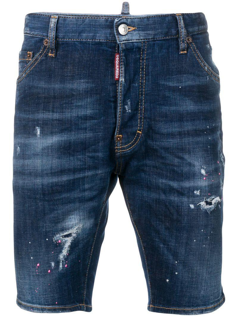 bc20ff5270 Lyst - DSquared² Distressed Denim Shorts in Blue for Men - Save 23%